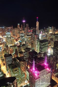 Chicago night aerial view by Songquan Deng, via Flickr
