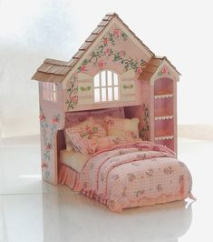 Pink & White Perfection PLAYHOUSE BED Dollhouse Miniature Custom Built Hand-Painted. $285.00, via Etsy.