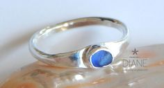 tiny cobalt sea glass ring