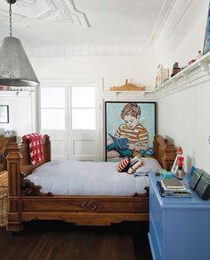 upcycled light, blue dresser