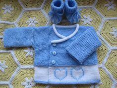 Mavi beyaz kalpli çocuk hırka | Örgü Modelleri - Örgü Dantel Modelleri