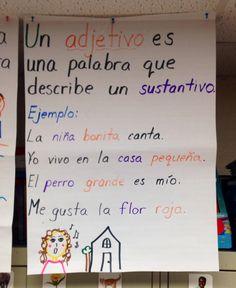 First Grade Dual Language Anchor Chart Gramática: Adjetivos Coordino la… Bilingual Kindergarten, Kindergarten Anchor Charts, Bilingual Classroom, Bilingual Education, Education Logo, Spanish Lesson Plans, Spanish Lessons, Teaching Spanish, Spanish Class