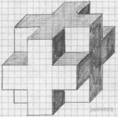 Dibujos Sencillos - JM Web Personal 3d Art Drawing, Geometric Drawing, Cool Art Drawings, Drawing Lessons, Easy Drawings, Art Sketches, Geometric 3d, Graph Paper Drawings, Graph Paper Art