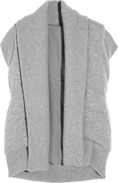 Not a good look, but an interesting concept - Donna Karan New York Gray Quilted Cashmere and Merino Woolblend Gilet