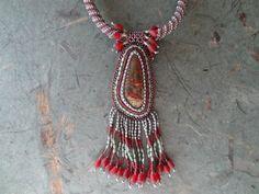 SUMMER SALE, Kaleidoscope Jasper Beaded Embroidery Necklace