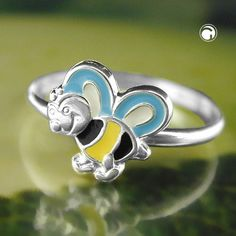 Ring, Biene gelb-schwarz-blau Silber 925