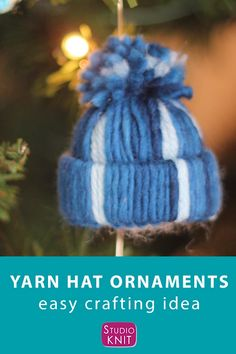 Christmas Crafts ornaments Love this easy craft! Winter Yarn Hat Christmas Ornaments are a fun project to make with your friends and family because there are NO knitting skills required. Get full written instructions and video tutorial by Studio Knit. Christmas Yarn, Christmas Knitting, Christmas Love, Christmas Craft Projects, Fun Projects, Holiday Crafts, Halloween Crafts, Yarn Crafts, Diy And Crafts