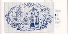 Point de croix médaillon japonaises au jardin - cross stitch japanese women in garden