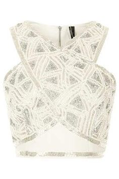 Cross front embellished top - perfect with a high waist full skirt