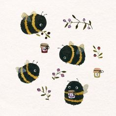 Likes, 68 Comments - Lara Hacker Cute Little Drawings, Cute Animal Drawings, Cute Drawings, Cute Bee, Bee Art, Illustration Artists, Art Inspo, Art Reference, Cool Art
