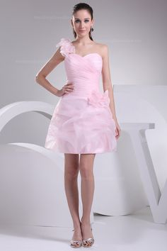 Lovely one shoulder pleated organza catch-up skirt bridesmaid dress,US$195.00 ,Style No.0bd00952