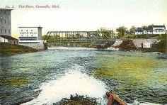 Greenville Michigan MI 1915 Flat River Bridge Custom Mills Vintage Postcard