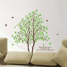 Wall Decals - YYone Twin Tree(74inch Tall) PVC Wall Art Decals Sticker for Home Decor - - http://Amazon.com
