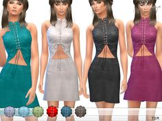 Sims 4 CC's - The Best: Lace Up Cut Out Front Mini Dress by Ekinege