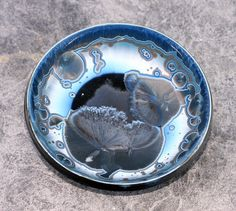 Winter Sliver Blue Crystalline Bowl by Tracey Renner