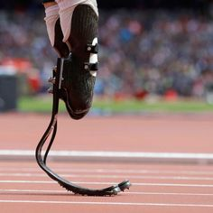Paralympic design : Flex-Foot Cheetah blades - carbon-fibre prosthetic blades inspired by the hind legs of a cheetah - designed by Icelandic company Össur - customised with Nike Spike Pads - photo by Anja Niedringhaus