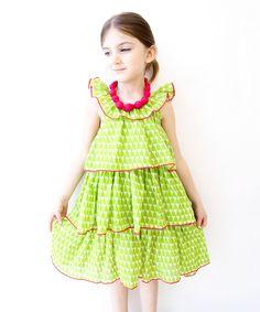 Green Apple Ruffle Tier Dress - Infant, Toddler & Girls