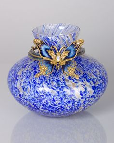 Blue Lorelei Butterfly Vase
