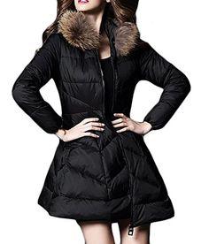 418990431fcd7 ARRIVE GUIDE Womens Fashion Faux Fur Collar Swing Mid Long Puffer Down  Jacket Black Medium