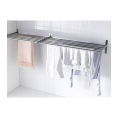 IKEA - GRUNDTAL, Drying rack, wall, stainless steel, The width can be adjusted to suit your needs. Suitable for use in damp spaces. Ikea Laundry, Drying Rack Laundry, Laundry Room Organization, Small Laundry, Laundry Room Design, Ikea Grundtal, Wall Drying Rack, Laundry Room Inspiration, Laundry Room Remodel