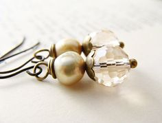 Champagne Crystal Freshwater Pearl Earrings by NooniJewelry, $25.00