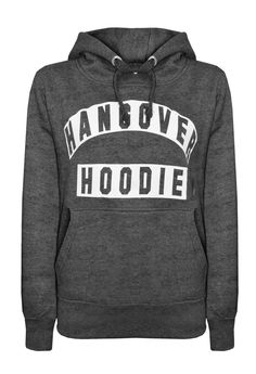 - 45% Acrylic / 30% Cotton / 15% Polyester / 10% Mixed Fibres - Machine Washable - 'Hangover Hoodie' Print - Cropped - Hooded with Adjustable Cords - Length Approx. 47cm