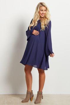 91ca5180346 Navy Chiffon Bell Sleeve Maternity Dress. Navy Blue ...