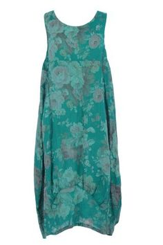 e46ae43590 Floral Print Sleeveless 2 Pocket Linen Tulip Midi Dress One Size Dress  First
