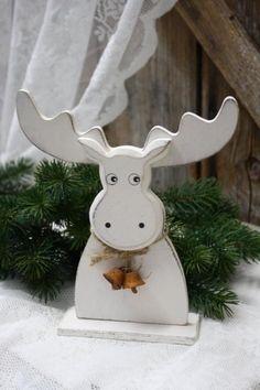 MEINE WELT Elch Kopf Rentier Weihnachten Deko Figur Holz Stehend Creme 26 cm