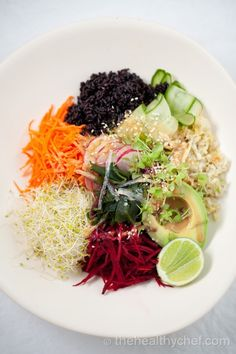 #Macro bowl with black rice and tahini dressing: Try making this with low sodium tamari. #vegan