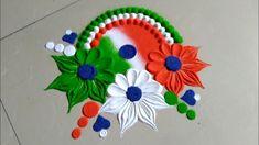 Independence day & Republic day rangoli design by Jyoti Raut rangoli Simple Rangoli Designs Images, Rangoli Designs Flower, Rangoli Border Designs, Rangoli Ideas, Colorful Rangoli Designs, Rangoli Designs Diwali, Flower Rangoli, Beautiful Rangoli Designs, Kolam Designs