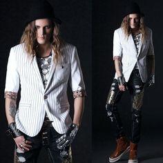 Men White Stripe One Button Slim Fit Summer Hippie Casual Suit Jacket SKU-11401714