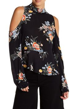 d2939b4fa63fa Image of Abound Cold Shoulder Floral Print Peplum Top