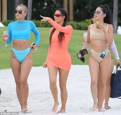 Girl time: The E! star was joined by girlfriends including Jasmine Sanders (left) as she made her way down to the water