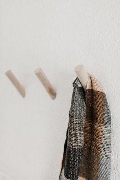 Solid Maple Wood Wall Peg - Minimalist Wall Hook - Scandinavian Home Decor - Nordic Home Decor Nordic Home, Scandinavian Home, Wood Hooks, Drywall Installation, Scarf Storage, Entryway Wall, Metal Stars, Minimalist Home Decor, Houses