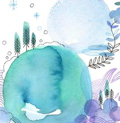 bulleair Abstract Watercolor Art, Watercolor And Ink, Watercolor Paintings, Kunstjournal Inspiration, Art Journal Inspiration, Art Fantaisiste, Nature Drawing, Art Et Illustration, Whimsical Art
