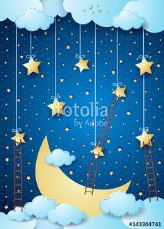 In the #dark :) #fantasy #surreal #imagination #dream #dreamy #fairy #fairytale #magical #suggestive #night #nocturne #moon #halfmoon #cloudscape #sky #vector #stockillustration by #luisaventuroli at #fotolia https://us.fotolia.com/id/143304741