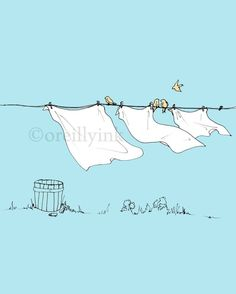 Leave some canvas neutral as negative space (leaves/whatever?) in front of blue sky Laundry Day Print Clothes Line, Mail Art, Cute Illustration, Drawing S, Painting Inspiration, Line Art, Watercolor Paintings, Laundry, Art Gallery