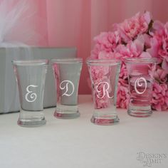 The Curve - Bridal Party Personalized Shot Glass with Monogram Choice and Font Selection (2.5 oz. Engraved Shot Glass) by DesignstheLimit #TrendingEtsy