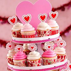 A pretty pedestal of cupcakes