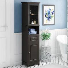Three Posts New Paltz x Linen Storage Tower Glass Panel Door, Panel Doors, Bathroom Flooring, Bathroom Furniture, Salon Furniture, Storage Cabinets, Tall Cabinet Storage, Bathroom Linen Cabinet, Bathroom Shelves