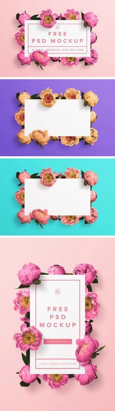 Download Free Floral Peonies Banner PSD Mockup - Custom Scene