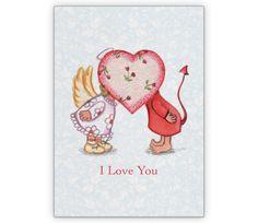 Liebeskarte mit Engelchen und Teufelchen: I love you - http://www.1agrusskarten.de/shop/liebeskarte-mit-engelchen-und-teufelchen-i-love-you-2/    00021_0_2214, 14.2., amour, Französisch, Grußkarte, Klappkarte, Liebe, Paar, Valentinskarten, Verliebte00021_0_2214, 14.2., amour, Französisch, Grußkarte, Klappkarte, Liebe, Paar, Valentinskarten, Verliebte