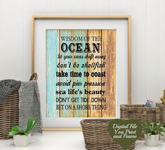 Advise from the Ocean Wisom of the Ocean digital art for the beach house Printable Digital Art Download Digital Sign You Print and Frame #beachhouse #beachdecor #printable #instantdownload #etsy #affiliate