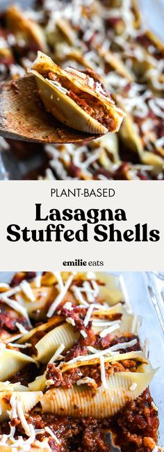 "These Plant-Based Lasagna Stuffed Shells will be your go-to comfort food dinner! The shells are stuffed with plant-based tofu ricotta and a ""meaty"" sauce. Best Vegetarian Recipes, Delicious Vegan Recipes, Whole Food Recipes, Dinner Recipes, Vegetarian Entrees, Dog Recipes, Vegan Vegetarian, Meaty Spaghetti Sauce, Lasagna Stuffed Shells"