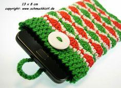 Italienfans - Handytasche gehäkelt rot grün weiß  von www.Schmuckkistl.de auf DaWanda.com