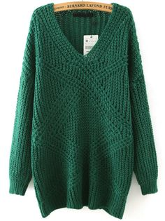 Green V Neck Mohair Loose Sweater , Register SHEIN to get a FREE GIFT!