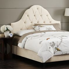 House of Hampton Handley Upholstered Panel Headboard Size: Full / Queen, Upholstery: Pearl Custom Headboard, Wingback Headboard, Panel Headboard, Upholstered Beds, Tufted Bed, Living Room Upholstery, Upholstery Trim, Upholstery Nails, Upholstery Cleaning