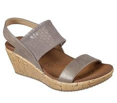 4a5501b9e0a9 Skechers Women s Beverlee Moon Glider Wedge Sandals (Dark Taupe) Leather  Texture