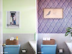 Obter a aparência de papel de parede, fazendo sua própria stencil- geométrica imaginar as possibilidades!  Clique por para mais detalhes.